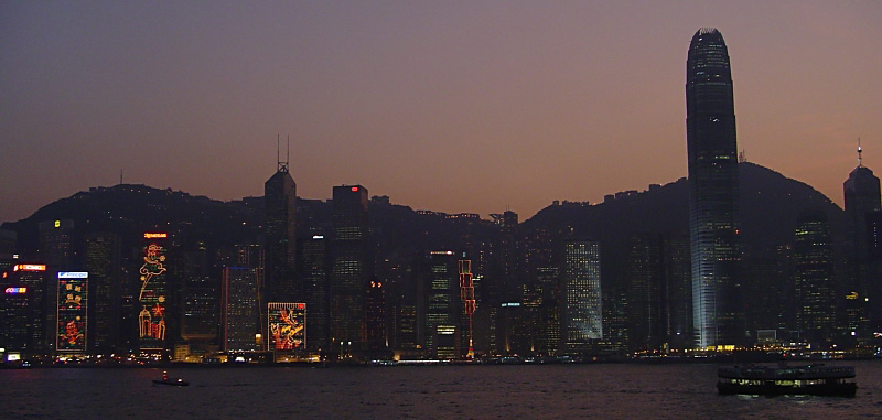 Dusk Hong Kong at Xmas - Click to go back